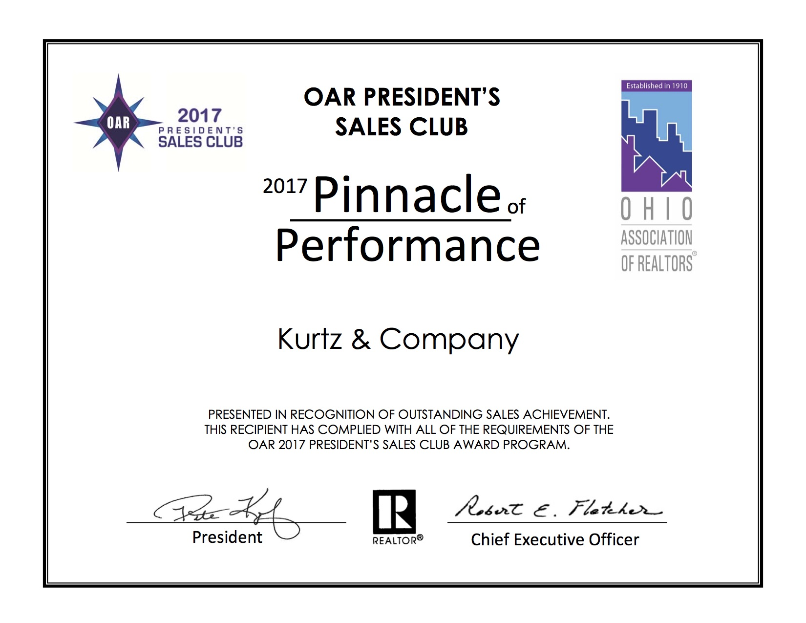 Pinnacle Team Certificate 2017