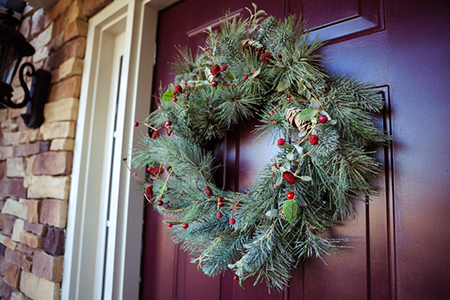 Winter wreath in entrance door