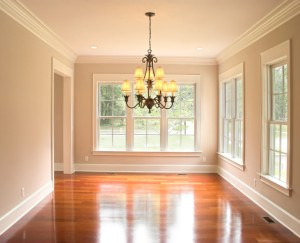dine, diningroom, room, dining-room, house, home, interior, inside, nobody, cherry, floor, empty, decorate, decor, unfurnished, chandelier, real, estate, real-estate, square, window, view, crown, molding, elegant, residential, residence, construction, building, lit, light, warm, cozy,